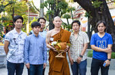 Family in Buddhist ordination ceremony — Stock Photo
