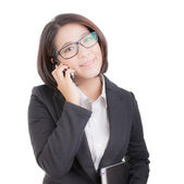 Business woman with using mobile phone — Stock Photo