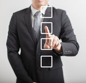 Business man hand choose check box — Stock Photo