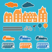 Banner with small town. Vector illustration. — Stockvector
