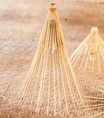 Handmade umbrella frames made from bamboo — Stock Photo