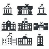 School building icons — Stock Vector