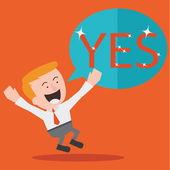 "Young Businessman Jumping With the Word ""Yes"" — Stock Vector"