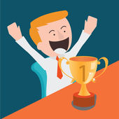 Happy business man with first trophy — Stock Vector