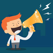 Businessman announcing through megaphone — Stock Vector