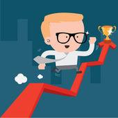 Businessman running up an business arrow — Stock Vector