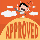 Business man happy ,approved,success — Stock Vector