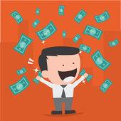 Businessman throwing bank notes — Stock Vector