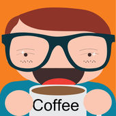 Drinking coffee during the break — Stock Vector