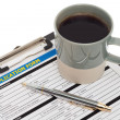 Job application form with coffee cup — Stock Photo