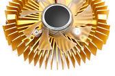 Golden cooling fan — Stockfoto