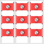 Infographic of red ribbons with a rivet — Stock Vector