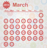 Calendar month of March 2014 — Stock Vector