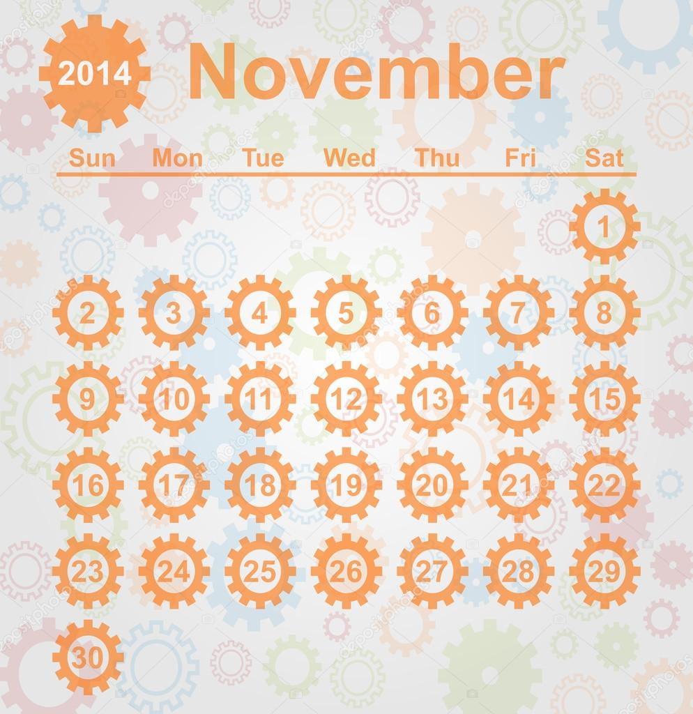 Calendars For The Month of November 2014 Calendar Month of November