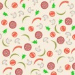 Vector abstract background with sausage, tomato, mushrooms and peppers — Векторная иллюстрация