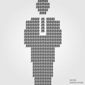Business background man of dollar signs. Vector illustration. — Cтоковый вектор