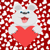 Teddy bear with red heart. Vector illustration. — Stock Vector