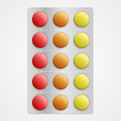 Realistic 3D medical pills in blister pack. — Stock Vector