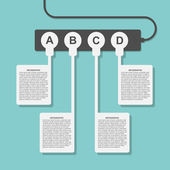 Infographics design stil eluttag med kontakter. — Stockvektor
