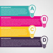 Infographic design style colorful light bulb. — Stok Vektör