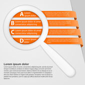 Abstract ribbons infographic with a magnifying glass. — Stock Vector