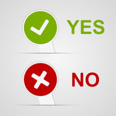 Yes and No icons paper stickers. Vector illustration. — Stock Vector