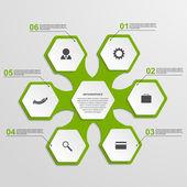 Abstract hexagon infographics template. Vector illustration. — Stock Vector