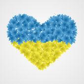 Ukrainische flagge des blattes in der form des herzens. vektor-illustration. — Stockvektor