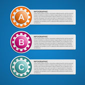 Color Gears Infographics Options Banner. Vector illustration. — Stock Vector