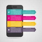 Modern design creative infographic with mobile phone. Vector illustration. — Stock Vector
