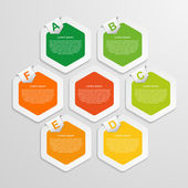 Abstract hexagon infographics template. Vector illustration. — Vector de stock