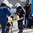 Stock Photo: Evacuation by stretcher (training)
