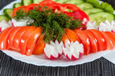 Assorted vegetables. radish, tomatoes, cucumbers, peppers — Stockfoto
