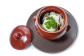 Meat dumplings and mushrooms with sour cream and herbs — Stok fotoğraf