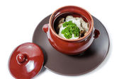 Meat dumplings and mushrooms with sour cream and herbs — Stockfoto