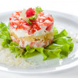 Постер, плакат: Fish salad with caviar tomatoes and lettuce