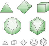 Platonic solids with green surfaces — Stock Vector