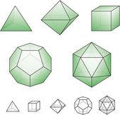 Platonische lichamen met groene oppervlakken — Stockvector