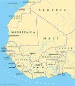 West Africa Map — Stock Vector