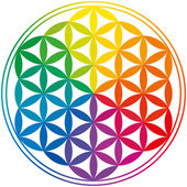 Flower Of Life Rainbow Colors — Stock Vector