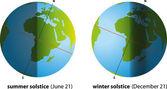 Summer Solstice And Winter Solstice — Stock Vector