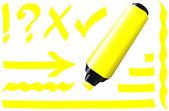 Fluorescent Marker Yellow — Stock Vector