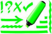 Fluorescent Marker Green — Stock Vector