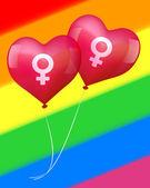 Balloons in lesbian love — Stock Vector