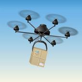 Drone Parcel — Stock Vector