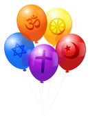 Balloons World Religions — Stock Vector