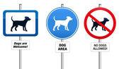 Segno di cani proibitivi e obbligatorio — Vettoriale Stock
