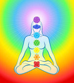 Chakras Icons Rainbow Woman — Stock Vector