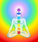 Chakras Icons Rainbow Man — Stock Vector