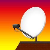 Satellite Dish Rooftop Sunset — Stock Vector